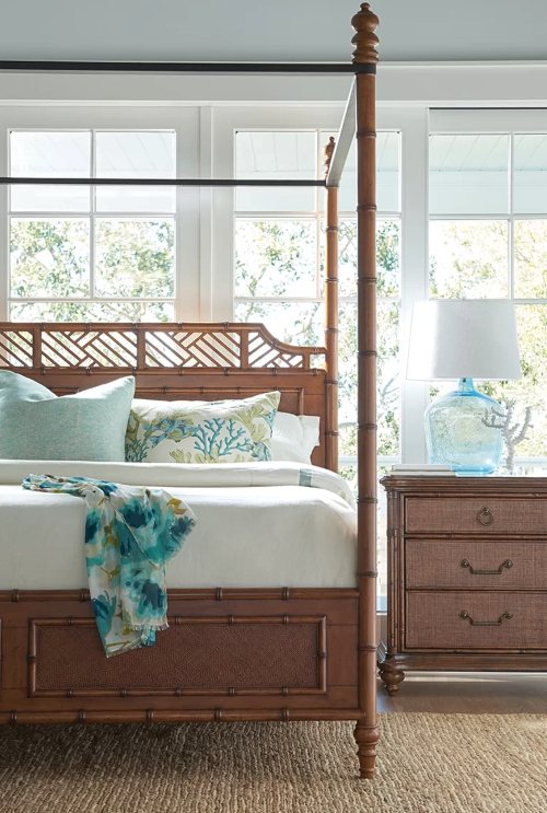 Tommy Bahama Island Tropical Island Inspired Pster Canopy Bed