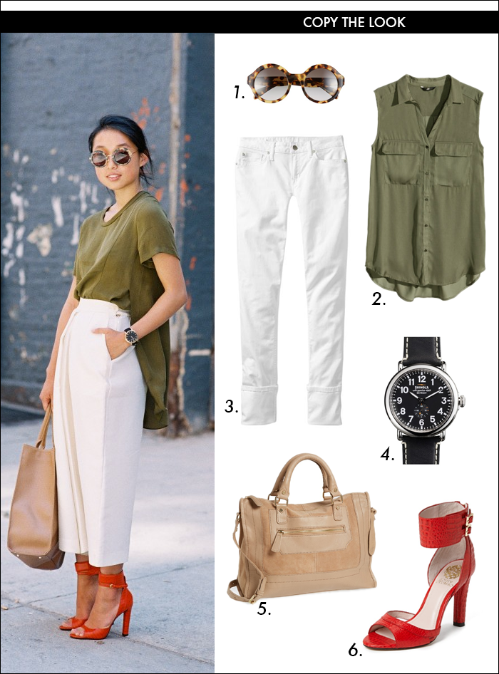 army green, white denim, skinny jeans, shinola watch, vince camuto, strappy heels, red sandals