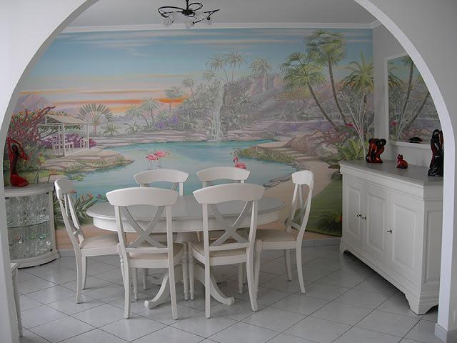 Papier peint déco paysage jardin tropical