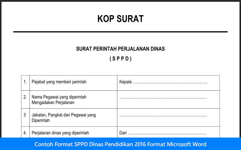 Contoh Format SPPD Dinas Pendidikan 2016 Format Microsoft Word