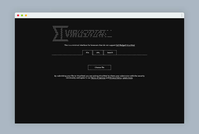 virustotal for checking files launches a new black web interface with an old-fashioned design