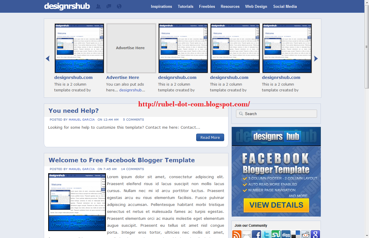 Facebook google plus twitter style blogger template free download facebook style blogger template free download maxwellsz