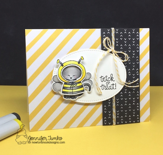 Halloween Cat dressed as a bee | Card by Jennifer Timko | Newton's Costume Party Stamp Set and Die Set by Newton's Nook Designs #newtonsnook #handmade