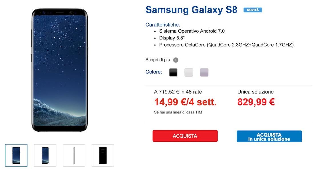 Samsung S8 con TIM al miglior prezzo: 720€ - Ma c'è un però!