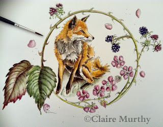 Wildlife watercolour painting fox