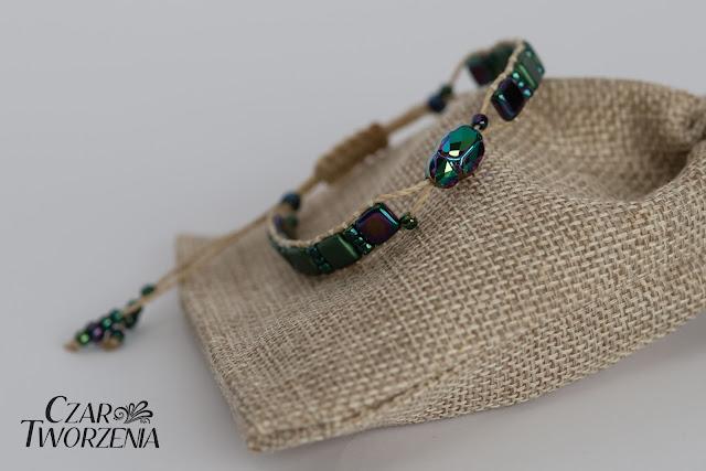 słomkowy sznurek poliestrowy żuczek bransoletka