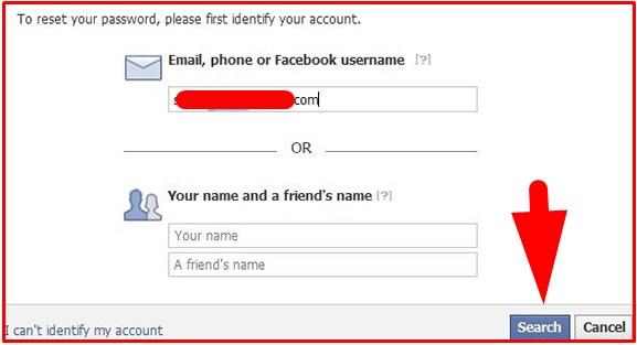facebook login forgot password