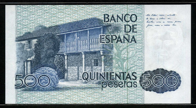 Spain currency 500 Pesetas Rosalía de Castro