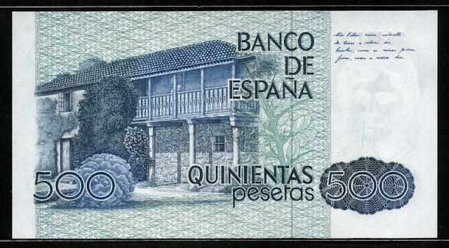 Spain currency 500 Pesetas Rosalía de Castro