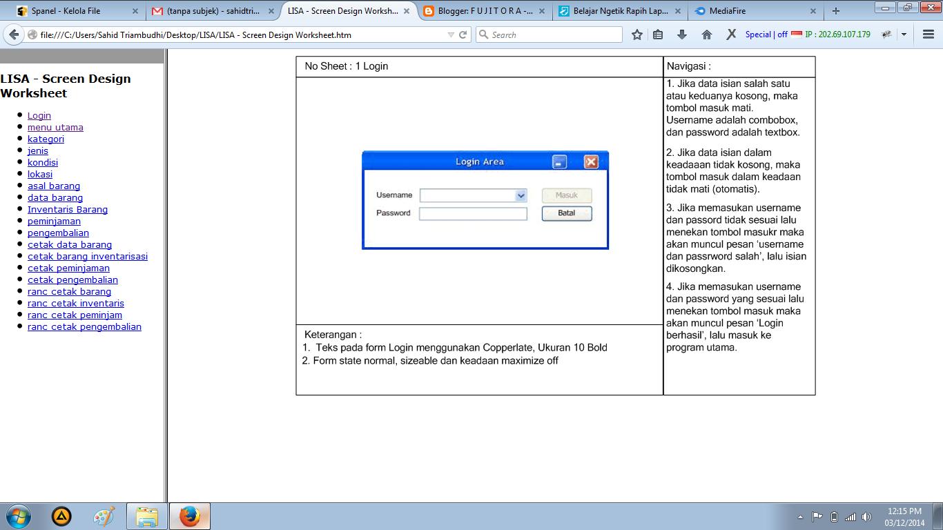 Kerja Praktek Screen Design Worksheet