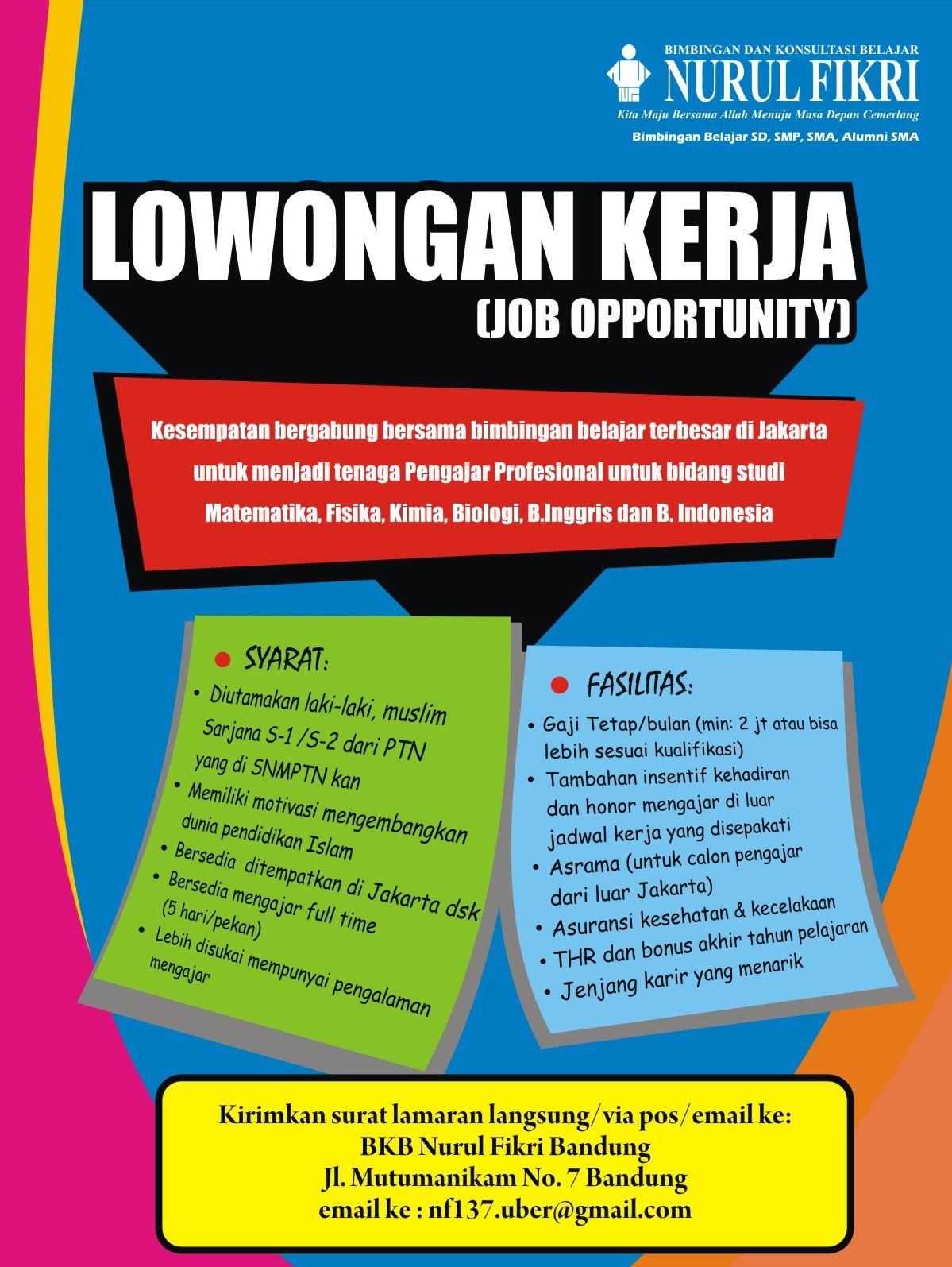 Lowongan Kerja Untuk Sma Di Bandung Informasi Lowongan Kerja Loker Terbaru 2016 2017 Di Jakarta Untuk Menjadi Tenaga Pengajar Profesional Untuk Bidang
