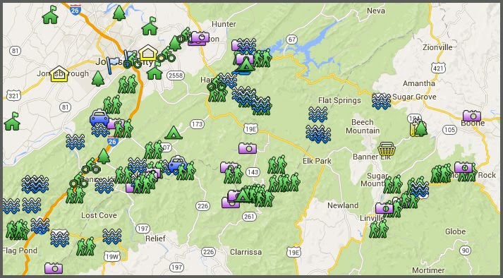 Map with Links to Hikes and Attractions: