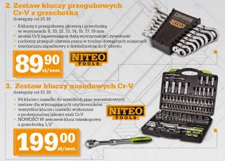 Zestaw kluczy przegubowych Cr-V z grzechotką Niteo Tools Biedronka ulotka