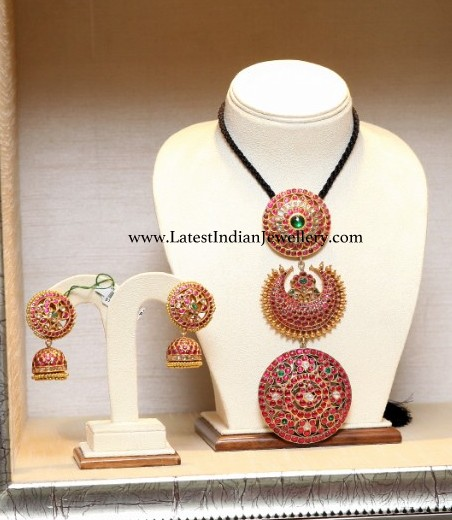 3 Step Ruby Pendant and Jhumkas