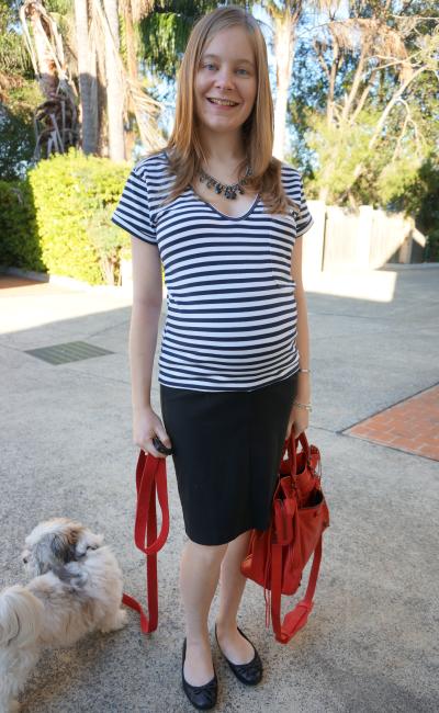 away from blue third trimester soon maternity flora fold pencil skirt stripe tee