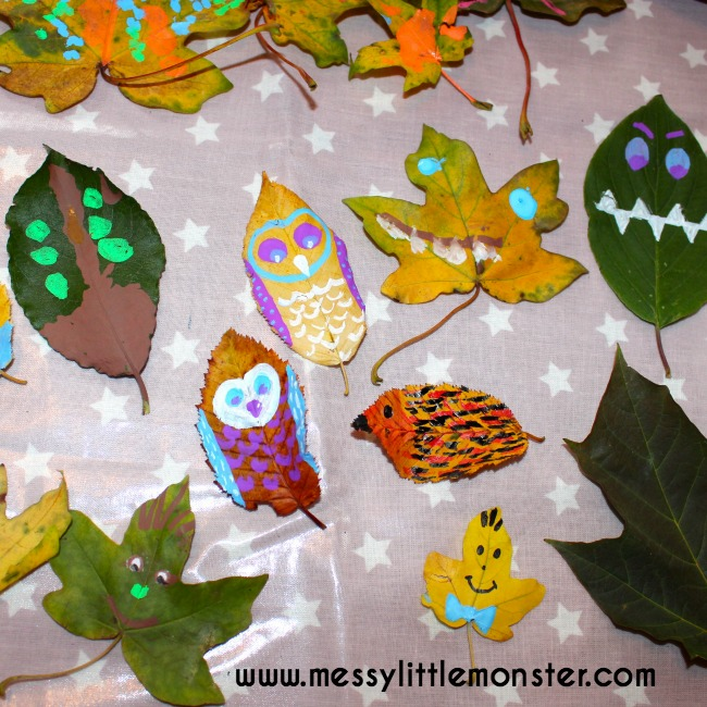 Leaf puppet ideas using fall/ autumn leaves.  Simple craft ideas for toddlers and preschoolers.