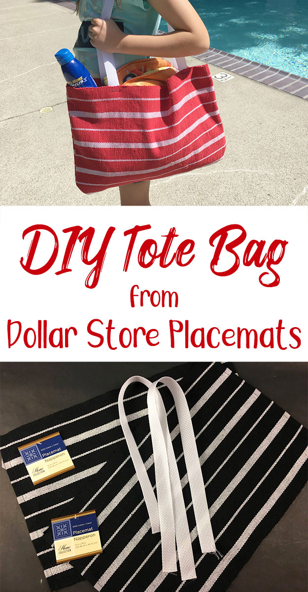 How to sew a tote bag from two dollar store placemats. A video tutorial to make a tote bag in only 5 minutes.