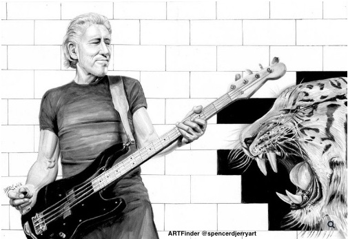 Portrait Drawing of  Roger Waters Bassist & Founder Member of Pink Floyd . Art Illustration includes a Brick Wall where a Tiger is loose