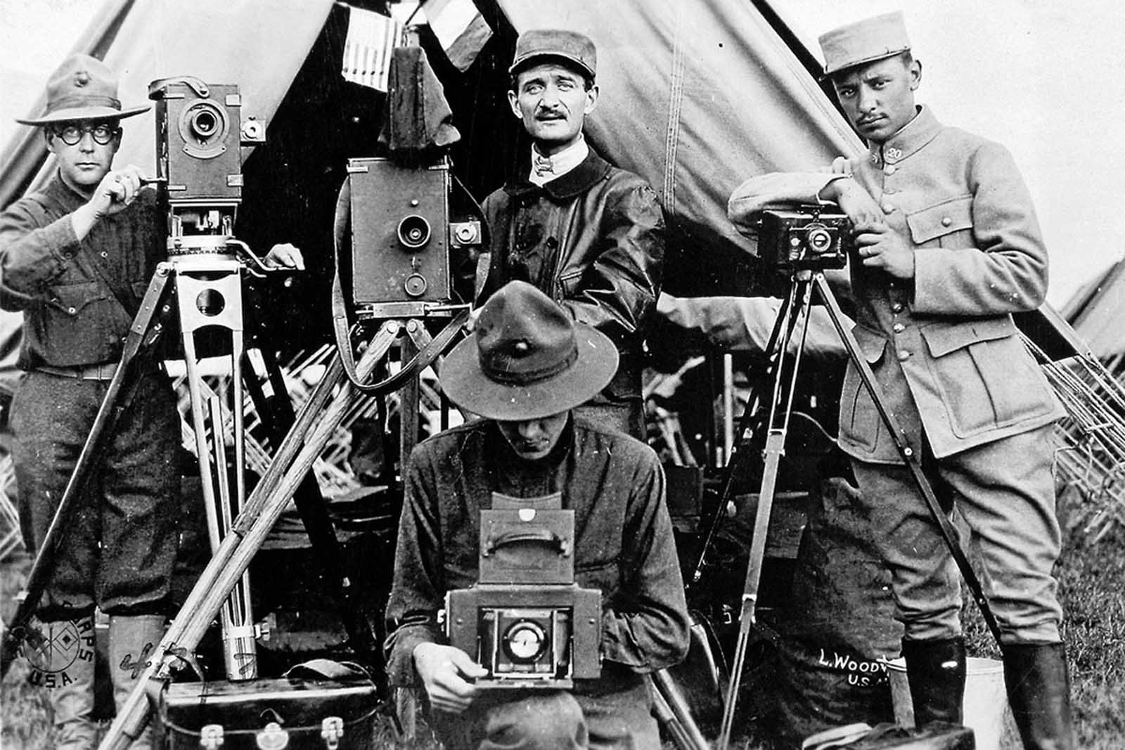 American and French photographic staff, France, 1917.