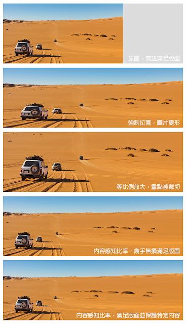 Adobe Photoshop 內容感知比率 - 前後比較