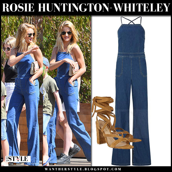 Rosie Huntington-Whiteley in denim jumpsuit paige rihannon and aviator sunglasses ray ban what she wore model style