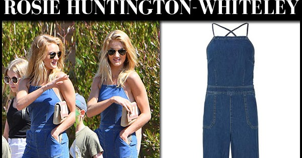 8c82704989 Rosie Huntington-Whiteley in denim jumpsuit in Malibu on August 7 ~ I want  her style - What celebrities wore and where to buy it. Celebrity Style