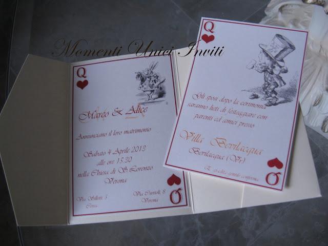 """ali Partecipazione pocket """"Alice in wonderland""""Partecipazioni Pocket"""