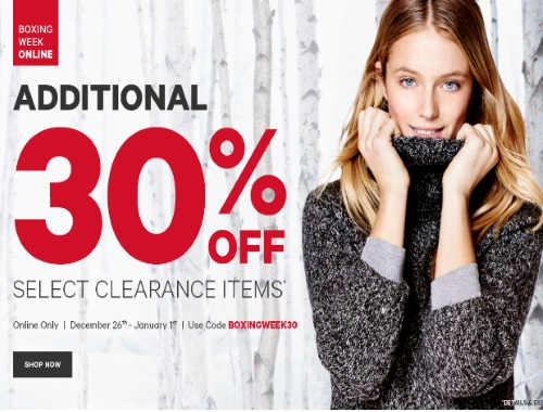 Joe Fresh Boxing Week Extra 30% Off