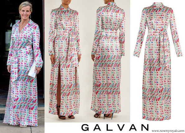 Countess Sophie wore GALVAN LONDON Andina Llama print silk satin shirtdress