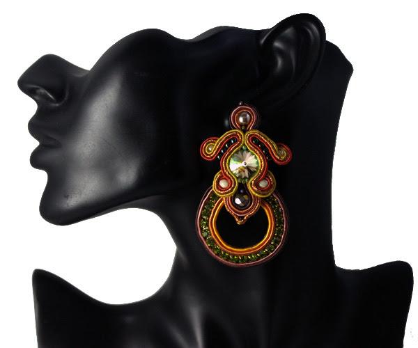 soutache earrings, rings, openworks, handmade, olive colours, warm, shiny earrings, big handmade jewelry, jewellery, autumn, brown, mustard,