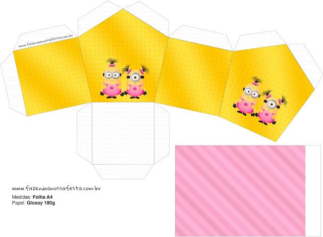 Caja con Forma de Casa para Imprimir Gratis de Minions Chicas.