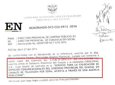 contrato prefecto guayas empresa creacional