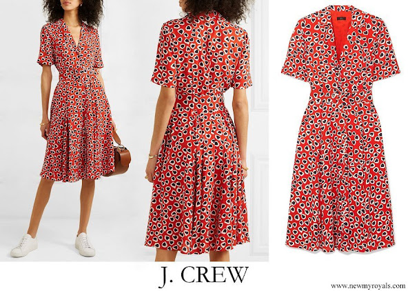 Crown Princess Victoria wore J.CREW Rudbeckia printed crepe dress