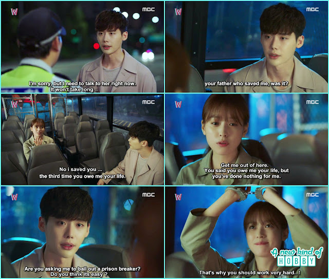 kang chul meet Yeon joo in the police bus- W - Episode 7 Review - Korean Drama 2016