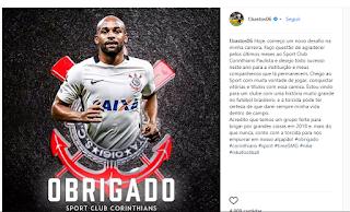 Grato, Felipe Bastos se despede do Corinthians em rede social