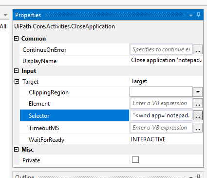 Web Maxtor: UiPath Close Application Activity Value does not