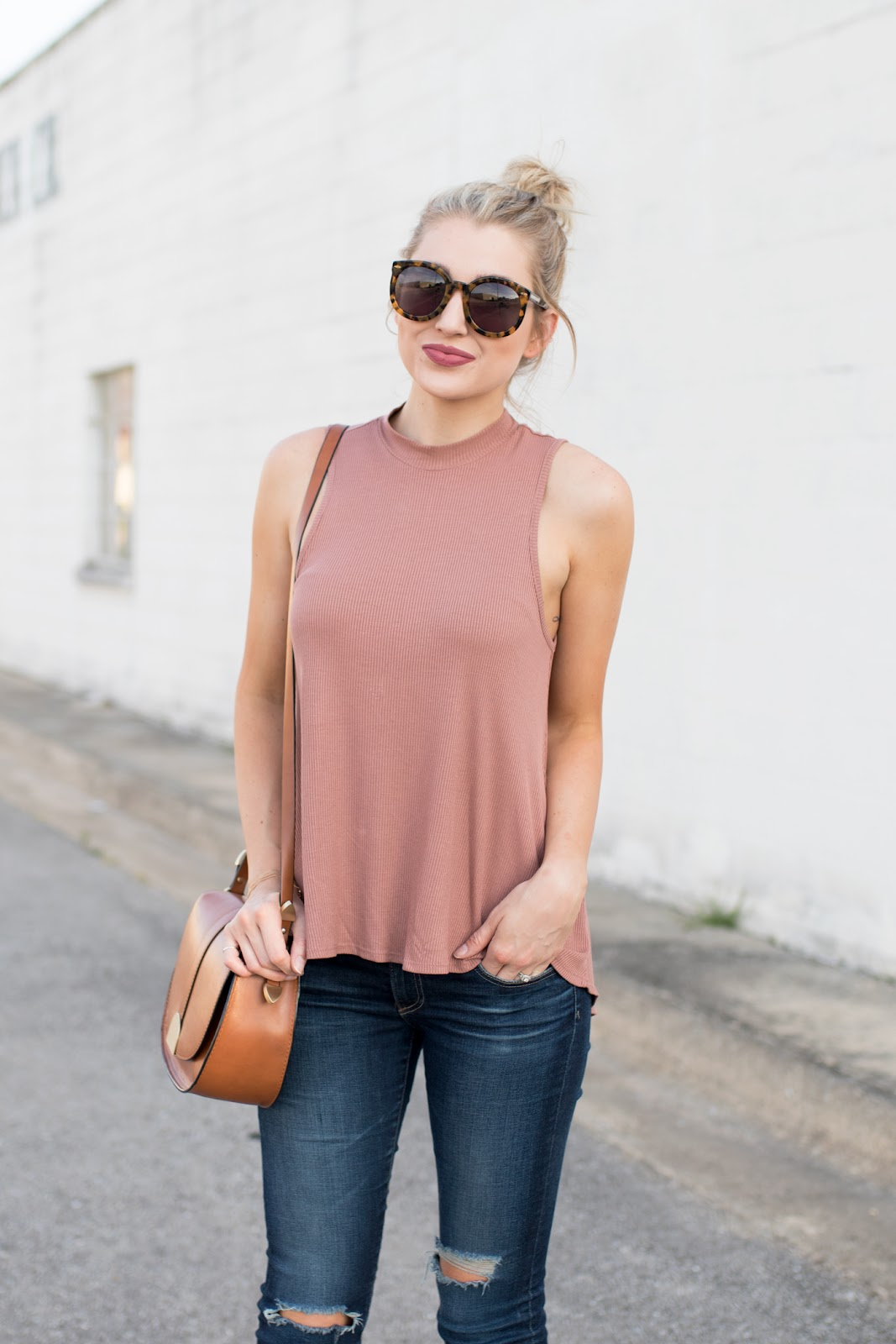 Rose pink high-neck tank
