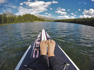 Stand-up paddle boarding at Johnson Lake, Banff