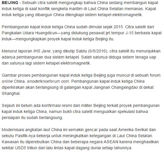 Hem Laut China Selatan Kembali Memanas, Beijing Bangun Kapal Induk Ketiga - Commando
