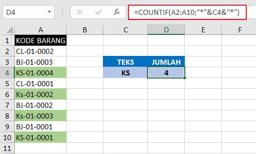 Menghitung jumlah sel yang mengandung sebagian teks pada excel