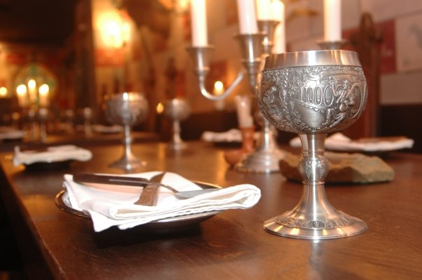silver goblet in a medieval feast