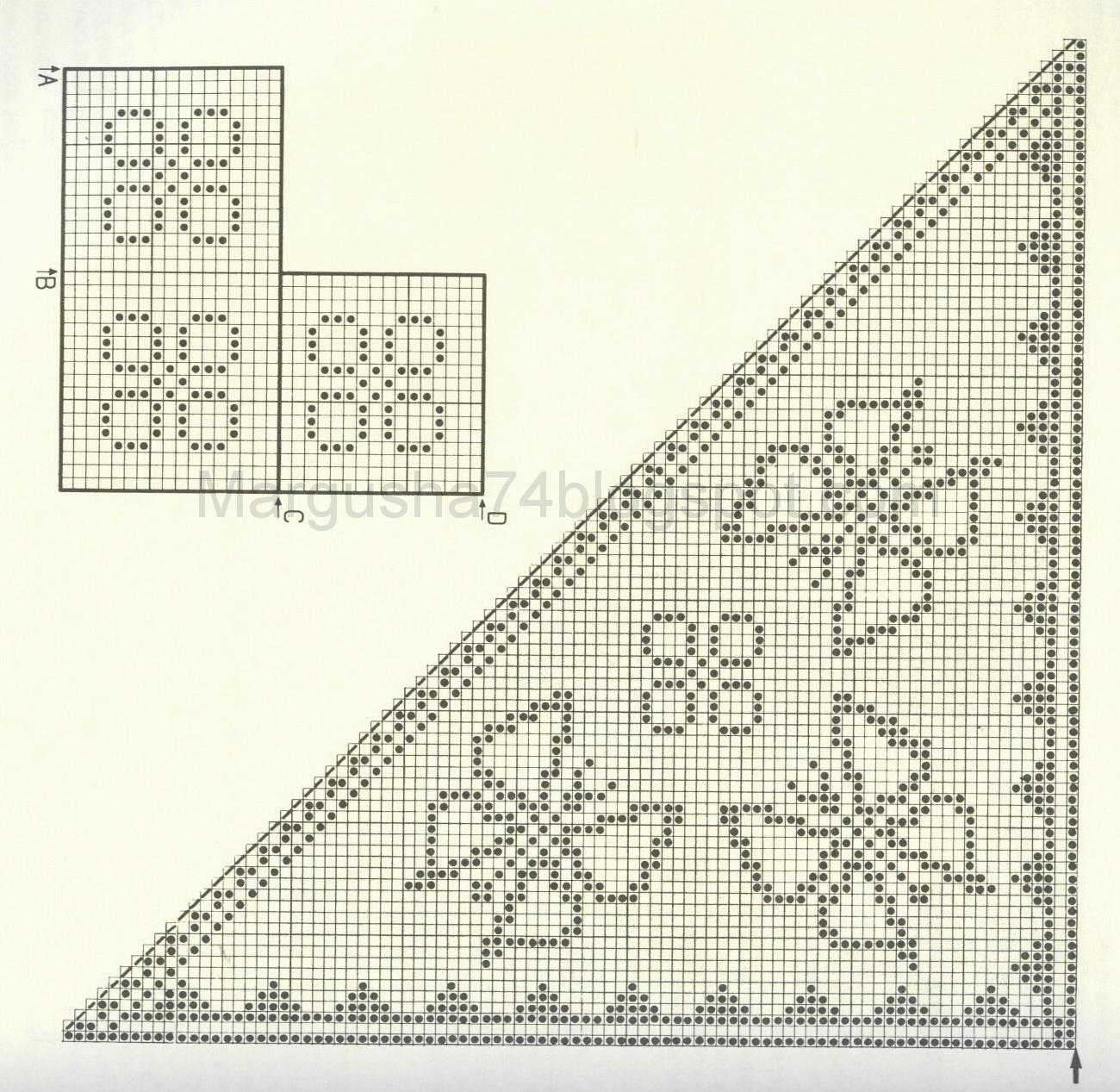 кружевной узор спицами схема