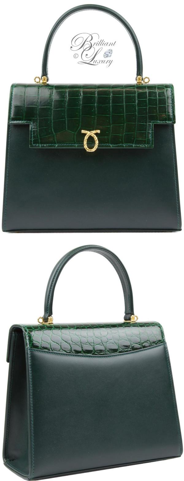 Brilliant Luxury ♦ Launer Traviata handbag forest green and crocodile flap