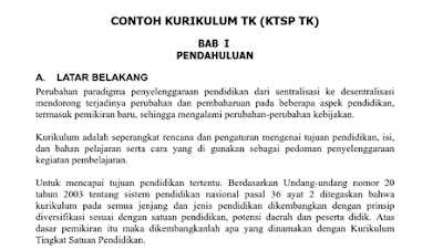 Download Contoh Kurikulum KTSP PAUD 2013 TK DOC Lengkap Terbaru 2016