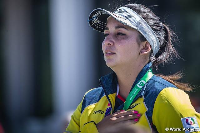 Sara López escucha el himno nacional de Colombia tras ganar el oro en los Juegos Mundiales 2017