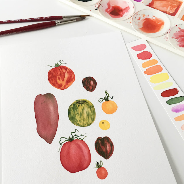 watercolor, painting, heirloom tomatoes, Anne Butera, My Giant Strawberry