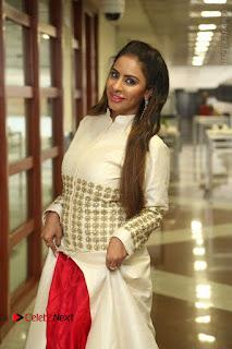 Telugu Actress Sri Reddy Mallidi Stills in White Beautiful Dress at Marriage Needs Bridal Fashion Week 2017 Logo Launch  0012.JPG