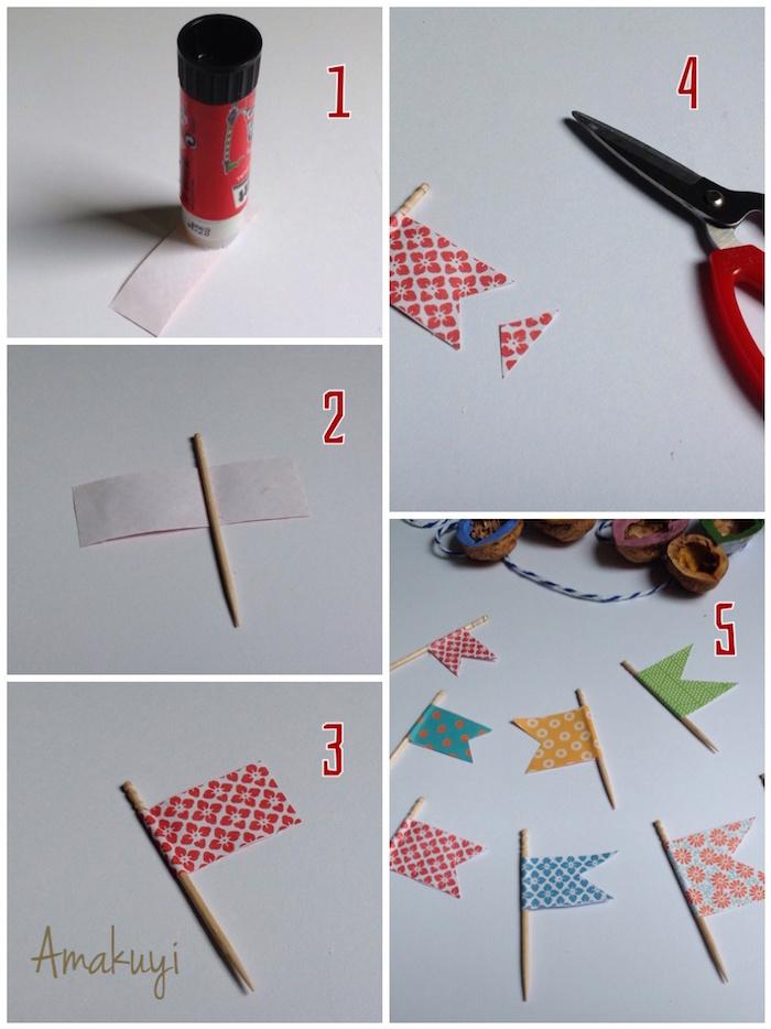elaboración banderas de barcos de nuez