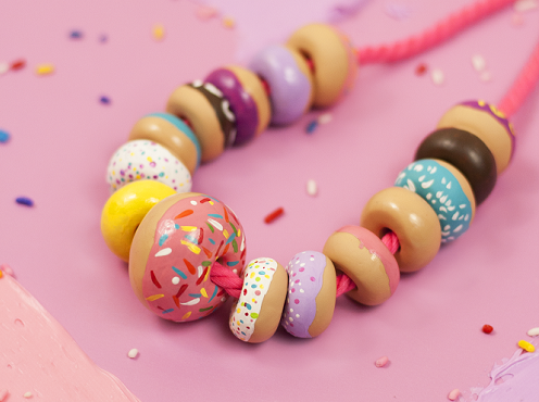 polymer clay donut necklace tutorial