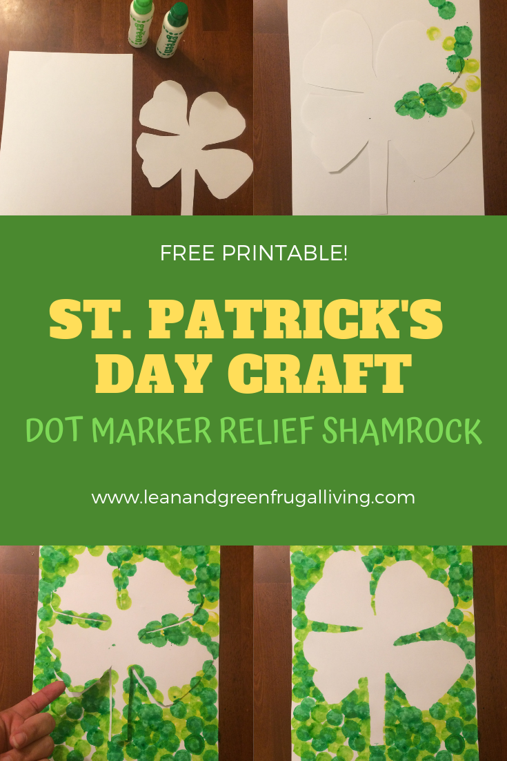 This FREE PRINTABLE St. Patrick's Day Craft: Dot Marker Relief Shamrock is a super fun activity for toddlers and preschoolers.